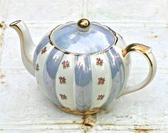 Vintage Gibsons teapot with blue stripes & pink roses.