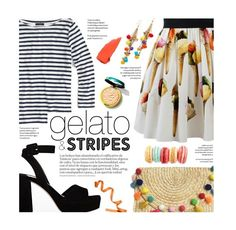 """gelato and stripes"" by federica-m ❤ liked on Polyvore featuring J.Crew, Dolce&Gabbana, Miu Miu, Rosantica and NYX"