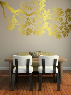 In silver on grey wall?    Wall Stencil - Large OAK Branch- Reusable Wall STENCIL - DIY Wall Art -5 Ft. Long. $89.95, via Etsy.