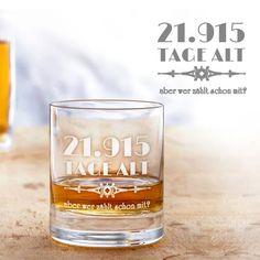 Das personalisierte Whiskyglas - Alter in Tagen ist eine kreative Alternative zu herkömmlichen Geburtstagsgeschenken, denn es drückt das Alter des Geburtstagskindes in Tagen statt in Jahren aus.