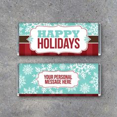 Personalized Happy Holidays OR Merry Christmas Candy Bar Wrappers–Printable wrappers with your personal message–Party favors, cards & gifts