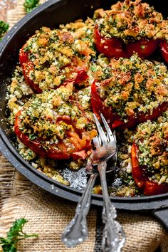 """These Provence-Style Tomatoes with Breadcrumbs and Herbs (""""Tomates à la Provençale"""") are a classic Summer dish from Southern France. An easy, tasty recipe. Tomato Dishes, Veggie Dishes, Vegetable Recipes, Food Dishes, Vegetarian Recipes, Side Dishes, Vegetarian Dinners, Classic French Dishes, French Food"""