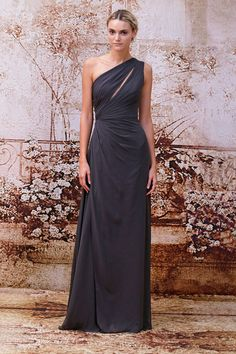 Monique Lhuillier Charcoal Dress - so glamorous Charcoal Bridesmaid Dresses, Purple Bridesmaid Dresses, Wedding Bridesmaids, Wedding Party Dresses, Wedding Attire, Monique Lhuillier Bridesmaids, Charcoal Dress, Chiffon Gown, Tulle Gown