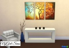 Modern Tree 3 Piece Canvas Art at NyGirl Sims via Sims 4 Updates