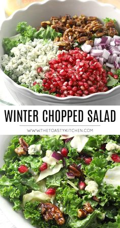 Winter Chopped Salad by The Toasty Kitchen #kale #salad #cabbage #wintersalad #wintersidedish #seasonalingredients #pomegranate #bluecheese #candiedpecans #homemade #sidedish #christmas #winter Winter Salad, Candied Pecans, Chopped Salad, Blue Cheese, Kitchen Recipes, Kale, Cobb Salad, Entrees, Salad Recipes