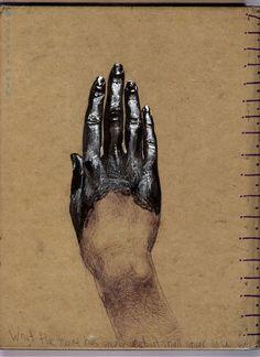 thelastbuffalo | Artist Vanessa Rivera - Back of sketchbook.    Sharpie, gel-pen and ballpoint pen.