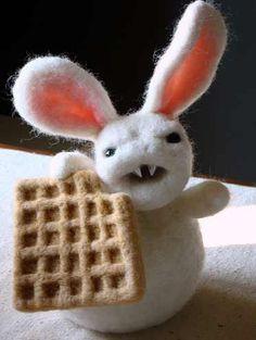 Felt rabbit Waffle vampire look at those teeth!