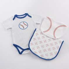 Batter up! Dress baby up for the game in a sweet baseball layette, complete with a baseball bib and burp cloth.