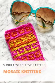 VIckie Howell shows how to knit in color and pattern to make the Mosaic Stitch Sunglasses Sleeve. Video tutorial and free pattern! Stitch Patterns, Knitting Patterns, Knitting Ideas, Yarn Sizes, Yarn Projects, Knitting Accessories, Yarn Colors, Single Crochet, Crochet Hooks