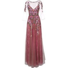 Marchesa Notte floral embroidery gown (€1.015) ❤ liked on Polyvore featuring dresses, gowns, red lace gown, long red evening gown, long red dress, long evening dresses and long gown