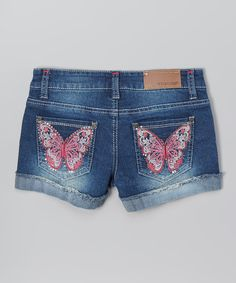 Vigoss Blue & Pink Denim Butterfly Shorts - Girls by Vigoss #zulily #zulilyfinds