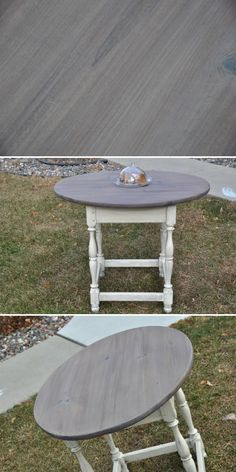 DIY GRAY WASH :: CLICK for full Tutorial. Using Minwax Stain in Pickled Oak 260 & a white wash made from diluted white paint (or you can use Minwax Pickling Stain)