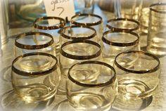 10 Vintage Platinum Rim Roly Poly Glasses!   $42.50 SOLD!