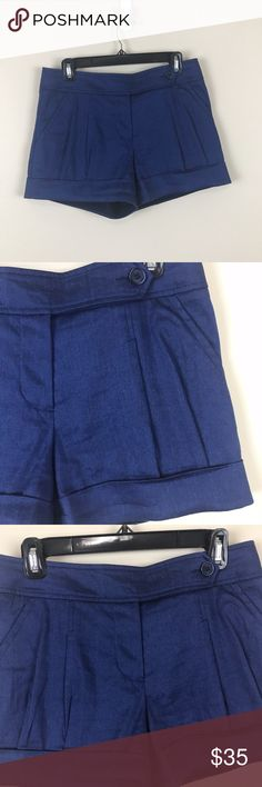 "TRINA TURK BLUE LINEN SHORTS WOMEN 4 LIKE NEW WOMEN SIZE 4 ROYAL BLUE LINEN SHORTS. PLEATED AT TOP AND BOTTOM. CUFF HEM. SIDE BUTTON AND CLASP. GENTLY USED NO FLAWS. PLEASE NOTE-THE SIZE IS RUBBED OFF THE PLASTIC FROM USE. BUT ITS A 4-WAIST OF 30""... ACROSS 15"" LENGTH 12.5"" RISE 9"" J CHINO,SPRING,SUMMER,RESORT,POOL,CRUISE,BEACH,DESIGNER CHIC Trina Turk Shorts"
