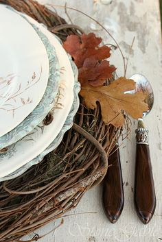 Autumn Table settings from Nature, Simple Grapevine Wreaths as Charger Plates with White Ironstone.. beautiful!
