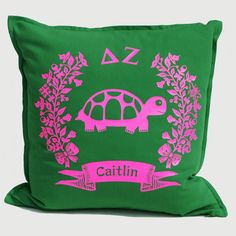 ΔΖ - Delta Zeta - 'Bigs' and 'Littles' share a lifelong bond of sisterhood. Cherish your Greek friendship with a Brit and Bee Sorority Logo Throw Pillow. Sorority Letters, Big Little Gifts, Green Cushions, Cotton Drawstring Bags, Delta Zeta, Bees Knees, Perfect Pillow, Cotton Canvas, Neon