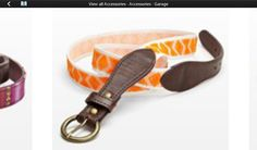 Orange skinny belt with leather and brass hardware. A great find!