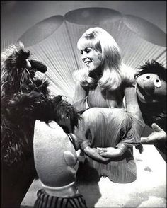 Barbara Eden with Bert, Ernie and Herry Monster on Out to Lunch