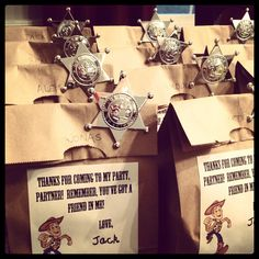 Goodie bags for Jack's Toy Story birthday party