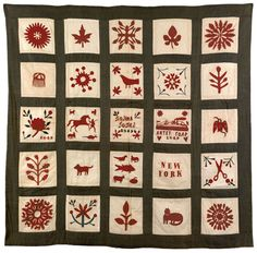 """Friendship quilt dated 1849 by Rosina Jobes, New York, 67 x 68""""; descended in the family of Arthur Sussel; 25 squares depicting eagle, ship, cat, bird, horse,etc."""