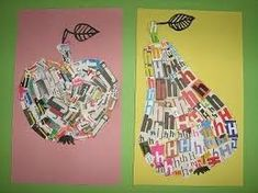 could just use idea of newspaper pieces.althought letters are great ideaActually could just use idea of newspaper pieces.althought letters are great idea Paper Collage Art, Newspaper Art, School Art Projects, Kindergarten Art, Middle School Art, Art Lessons Elementary, Art Lesson Plans, Recycled Art, Art Classroom