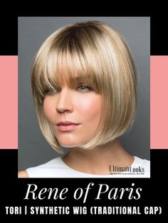 Tori Wig by Rene of Paris. A striking angled bob with blunt fringe. Sharp, asymmetrical angled style with super cool vibe character. #wigs #wigsmaker #wifglife