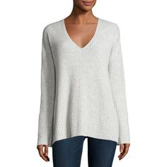 Rag & Bone Phyllis Ribbed Cashmere Sweater (17,320 THB) ❤ liked on Polyvore featuring tops, sweaters, light grey, v-neck sweater, pure cashmere sweaters, v neck pullover, long sleeve tops and ribbed v neck sweater