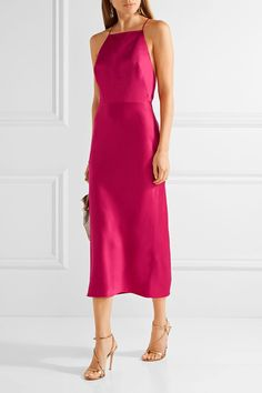 Fuchsia satin-crepe Concealed hook and zip fastening at side 73% acetate, 27% viscose; trim1: 100% polyester; trim2: 100% cotton; lining: 100% silk Dry clean Designer color: Raspberry