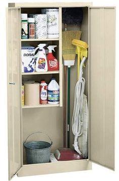 Sandusky Lee Classic Janitorial Supply Cabinet 30 x 15 x 66 Laundry Room Storage, Door Storage, Laundry Room Design, Storage Cabinets, Storage Shelves, Storage Spaces, Locker Storage, Basement Laundry, Pantry Storage