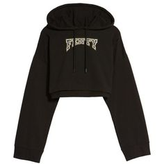 Women's Fenty Puma By Rihanna Crop Hoodie (110 CAD) ❤ liked on Polyvore featuring tops, hoodies, puma black, crop top, cropped hoodie, cropped hooded sweatshirt, hoodie crop top and hooded pullover