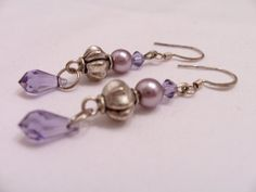 Soft mauve Swarovski pearl and crystal teardrop earrings by SparkleandComfort, $10.00