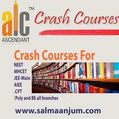 ALC provides crash courses for poly and BE for almost all branches. We also provide crash courses for various entrance exams like #JEE-Main, AIEEE, PMT, NEET, MHCET, CPT etc. with limited batch size to give you the best experience while preparing. Enrol your seat now.. Come and join #ALC..   Contact Us: ASCENDANT LEARNING CENTER PVT. LTD  For more details: 8888882670 | 9960646291  www.salmaanjum.com | www.alcgroup.in