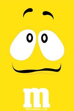 yellow m&m wallpaper M Wallpaper, Wallpaper Please, Wallpaper For Your Phone, Cartoon Wallpaper, Wallpaper Backgrounds, Yellow M&m, Color Yellow, Minimalist Phone, M&m Characters