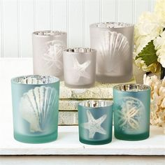 Two's Company Watercolors Candleholder Set of Watercolors Set of 3 Sealife Silhouette Frosted Tealight Candleholders Includes 3 Sizes Available : 2 Colors: Silver and Aqua - Glass. Tealight Candle Holders, Glass Candle Holders, Candle Jars, Candleholders, Tea Light Candles, Pillar Candles, Tea Lights, Aqua Glass, Jar Centerpieces