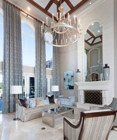 Stunning Mediterranean style beige and blue living room decor with slipcovered sofa and glam decor Blue Living Room Decor, Elegant Living Room, Elegant Home Decor, Elegant Homes, Living Room Designs, Living Rooms, Art Deco Decor, Global Home, Best Interior Design
