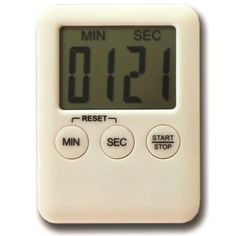 Easy to read, slimline count up and countdown timer. Supplied packaged in box with and battery.
