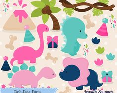 INSTANT DOWNLOAD - Girls Dinosaur Clipart and Vectors