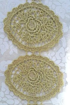 GOLD LACE TRIM, Rocquencourt Trim, Doily Lace Trim, Victorian Trim, Gold Victorian Trim, Doily Lace, Medallion Lace Trim, Gold Metallic Trim by OneDayLongAgo on Etsy