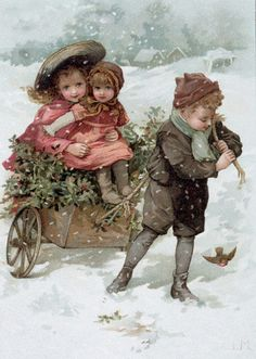 Brother pulling sisters through the snow with a bird as company