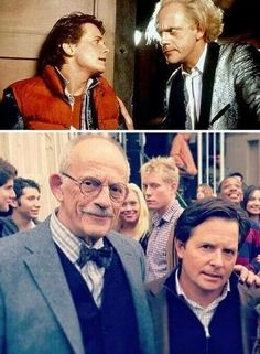 Christopher Lloyd & Michael J Fox as Doc Emmett L Brown & Marty McFly in the Back To The Future trilogy - my favourite movie!