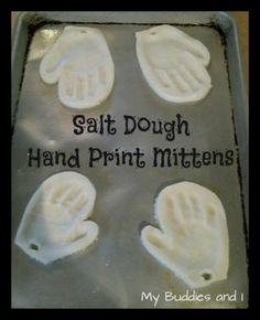 salt dough hand print mitten | diy keepsake ornament - Click image to find more holidays & events Pinterest pins
