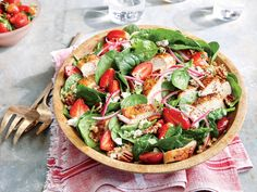 Strawberry-Chicken Salad with Pecans | This main-dish salad features juicy strawberries at their seasonal peak.
