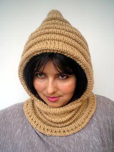 Honney Beige Wave Chunky Knit Hood  Soft Woman by GiuliaKnit, $79.00
