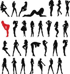 Sexy woman black vector on VectorStock