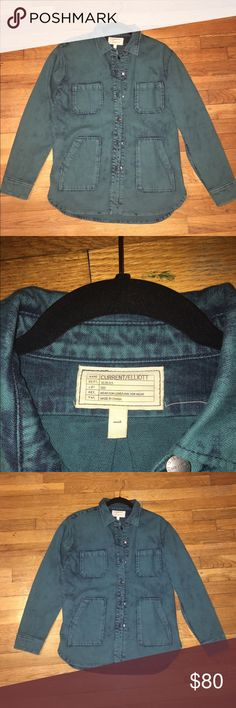 Current Elliott teal denim top A perfect teal oversized denim button-down, finished with 80's inspired details. This Current / Elliott top is outfitted with flap pockets and with antiqued buttons. Long sleeves. Size 1- which is small. Current/Elliott Tops