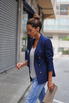 ripped jeans and blue blazer