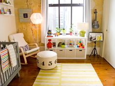 Colorful, Music Inspired Nursery - love the fun pops of yellow!