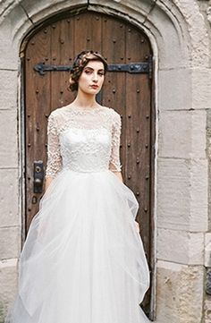 2982d1e6eb0 Sareh Nouri - High Neck A-Line Gown in Beaded Lace Couture Wedding Gowns