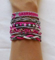 Bracelet manchette de l'amitié rose gris fermoir aimanté : Bracelet par kiline