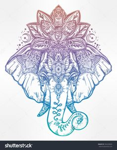 Just Pinned to Animals: Vintage style vector elephant with with ornate lotus mandala crown Ideal ethnic background tattoo art yoga Indian Thai spirituality boho design. Use for print posters t-shirts textiles Hawaiianisches Tattoo, Tattoo Hals, Piercing Tattoo, Back Tattoo, Tattoo Drawings, Ganesha Tattoo, Underboob Tattoo, Alien Tattoo, Tattoo Thigh